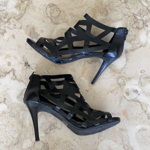 Fergalicious Caged Strappy Ankle Bootie Heels
